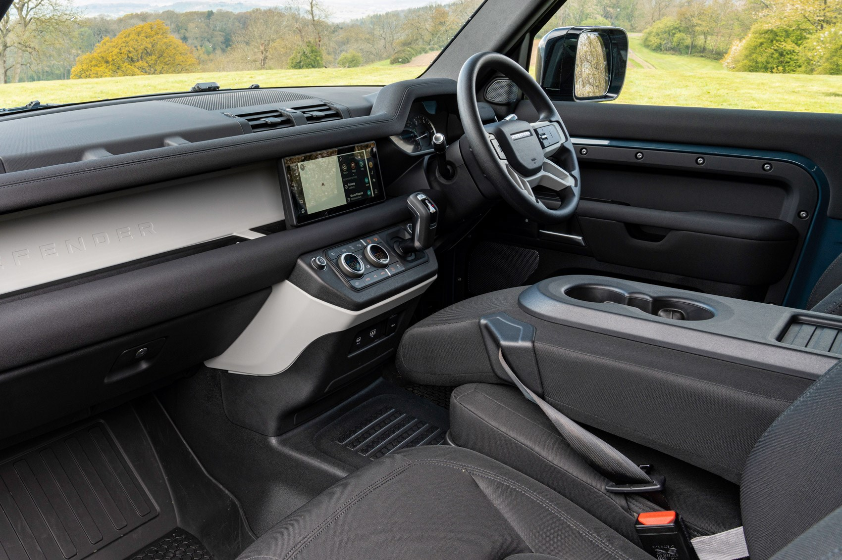 Land Rover Defender Hard Top review - commercial 4x4 - dashboard, steering wheel, Pivi Pro infotainment touchscreen