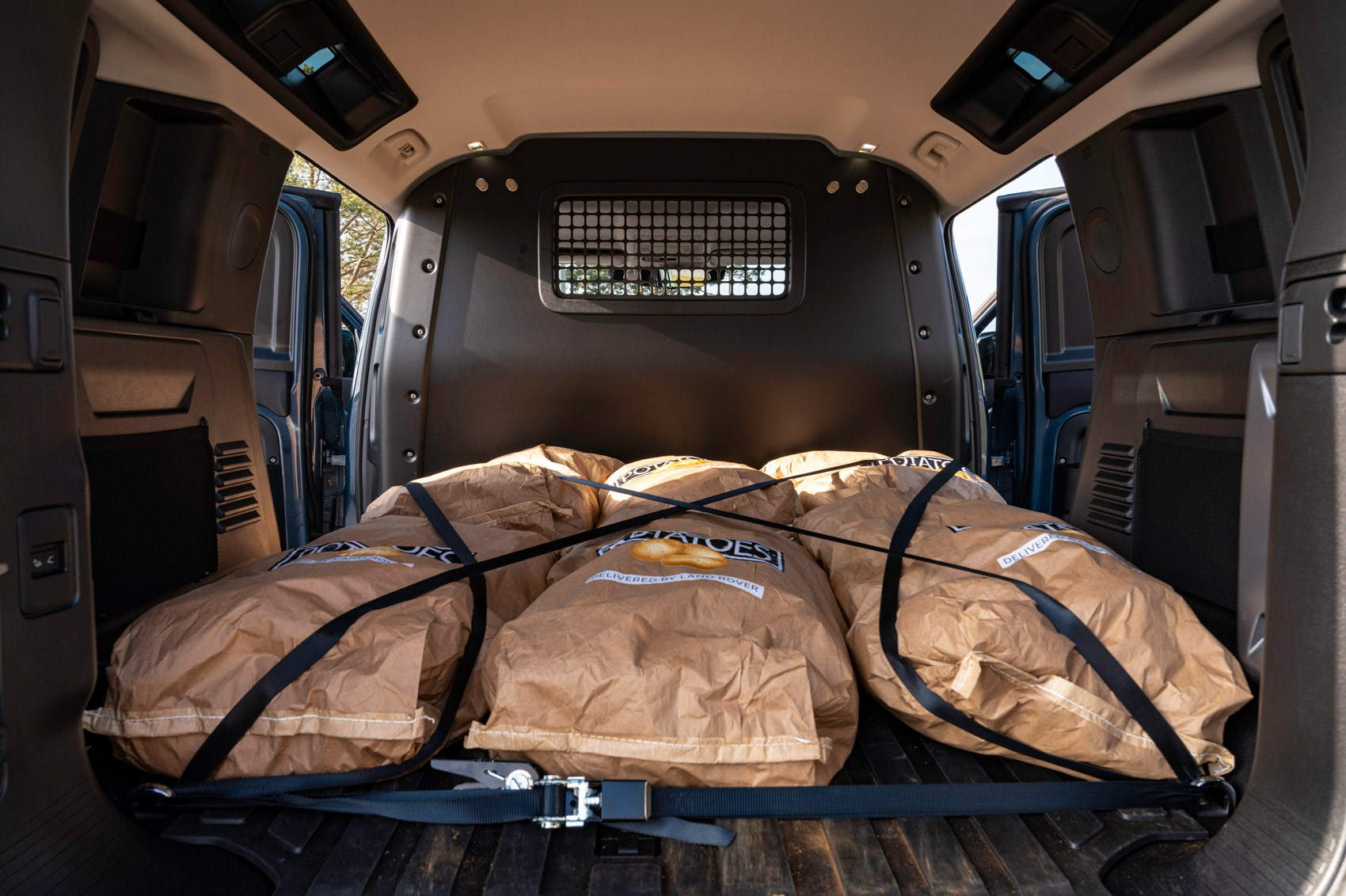 Land Rover Defender Hard Top review - commercial 4x4 - 110 load area with potatoes