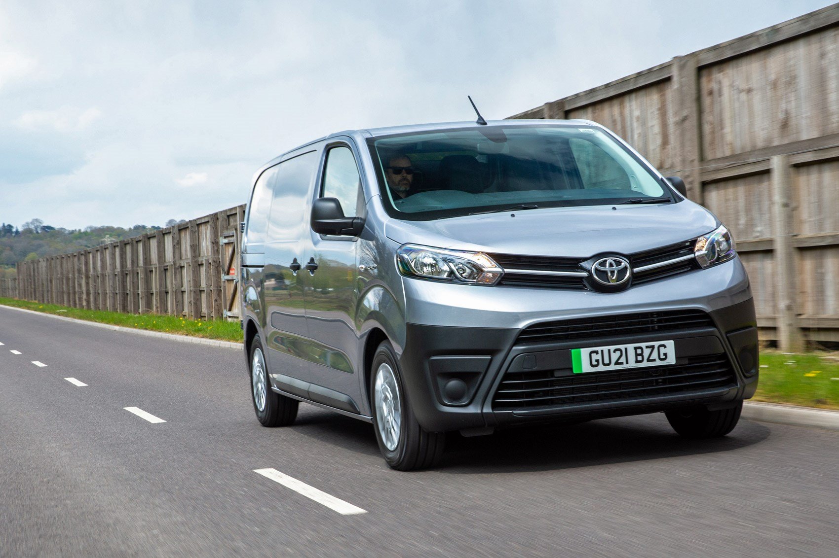 Toyota Proace Electric van review, front view, driving, silver
