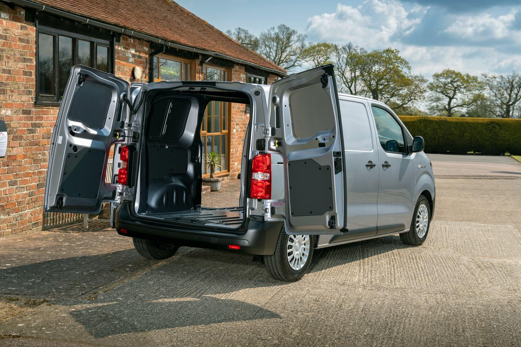 Toyota Proace Electric van review, rear view, loaded van with doors open