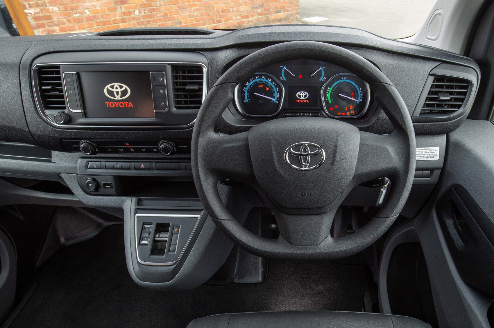 Toyota Proace Electric van review, cab interior, driver's view of steering wheel and dashboard