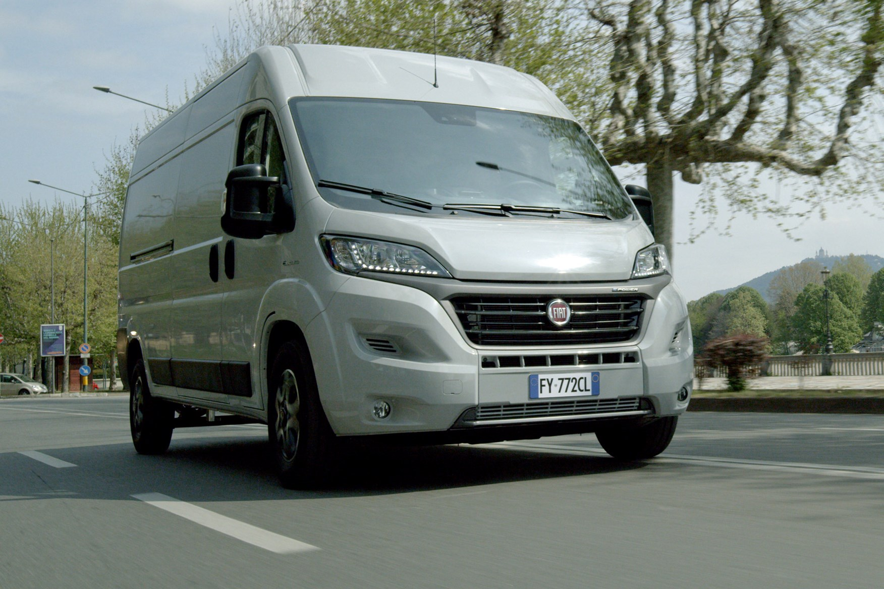 Fiat E-Ducato review - front view, white, driving
