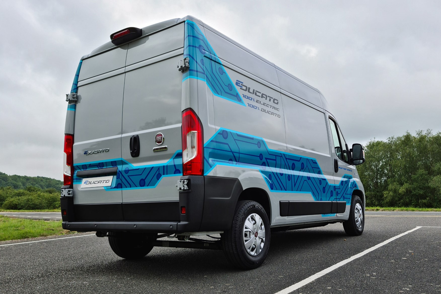 Fiat E-Ducato review - rear view, right-hand drive, UK