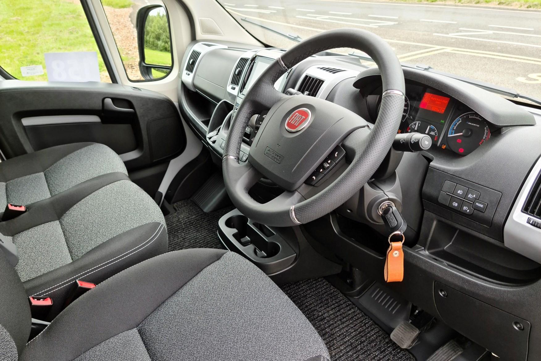 Fiat E-Ducato review - cab interior, dashboard, steering wheel