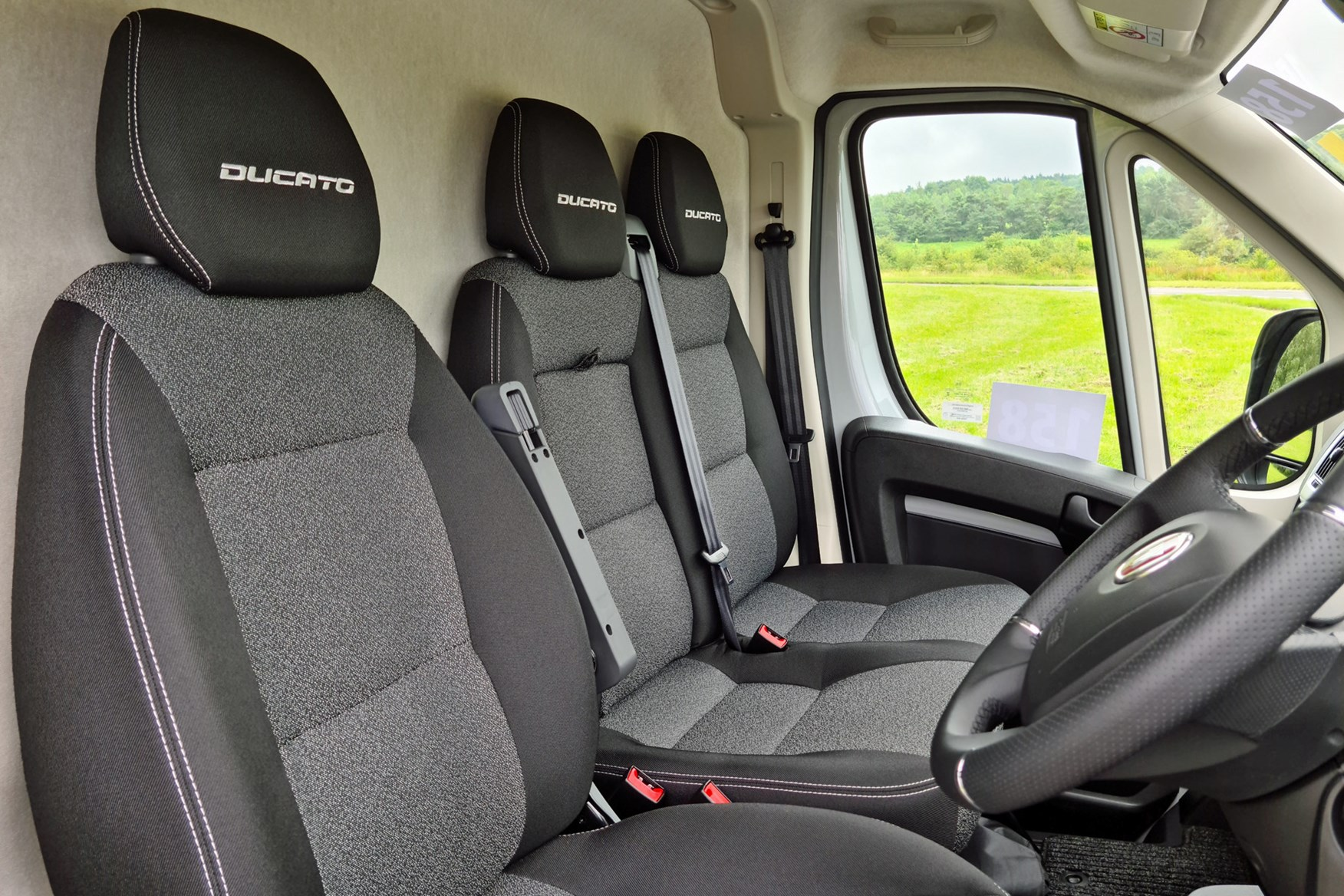 Fiat E-Ducato review - eTecnico seats with headrest embroidery